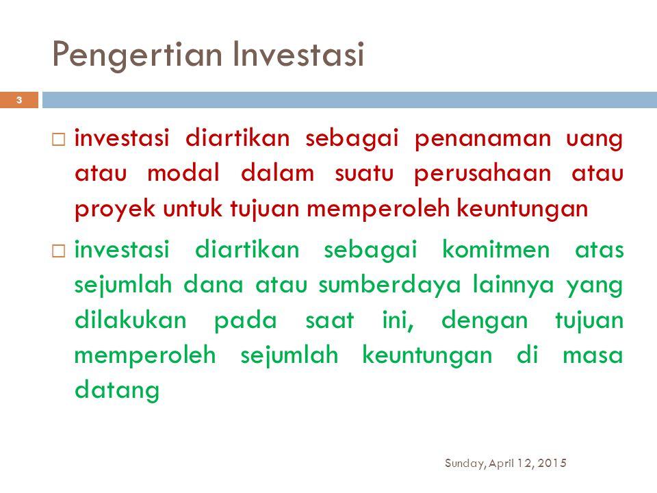 Pengertian Investasi  investasi diartikan sebagai penanaman uang atau modal dalam suatu perusahaan atau proyek untuk tujuan memperoleh keuntungan  i