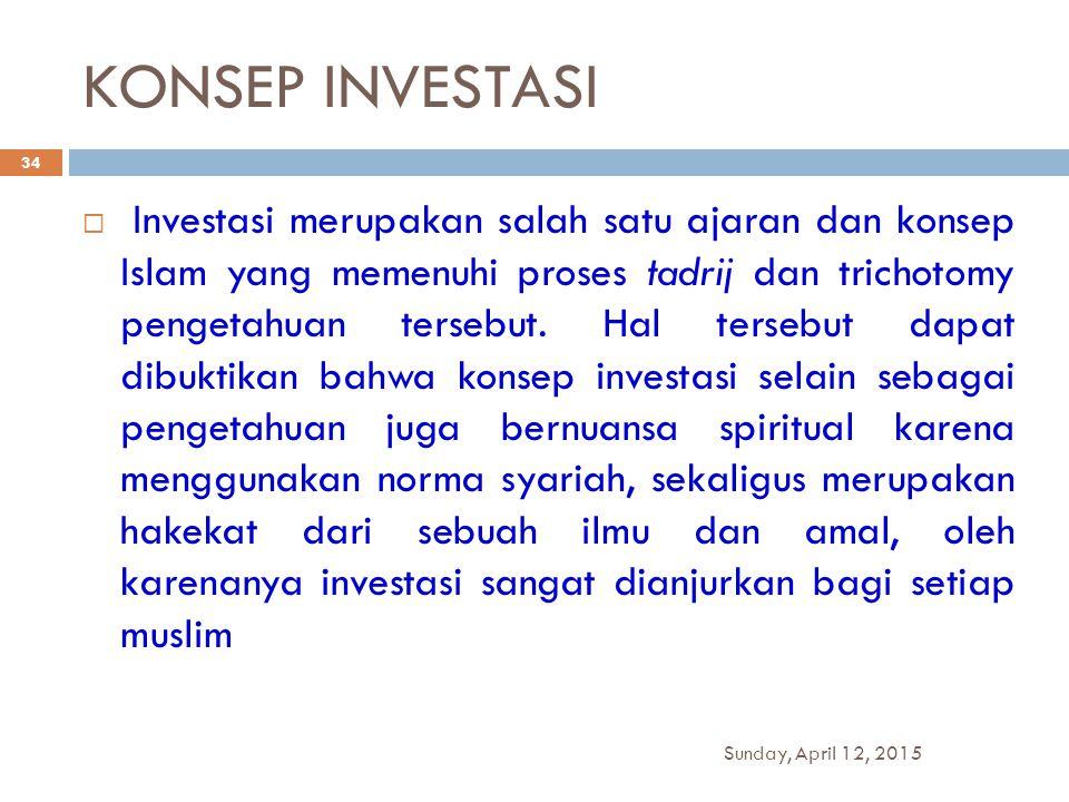 KONSEP INVESTASI  Investasi merupakan salah satu ajaran dan konsep Islam yang memenuhi proses tadrij dan trichotomy pengetahuan tersebut. Hal tersebu
