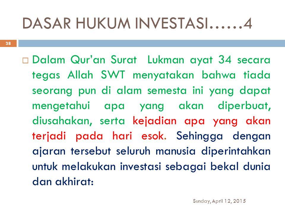 DASAR HUKUM INVESTASI……4  Dalam Qur'an Surat Lukman ayat 34 secara tegas Allah SWT menyatakan bahwa tiada seorang pun di alam semesta ini yang dapat