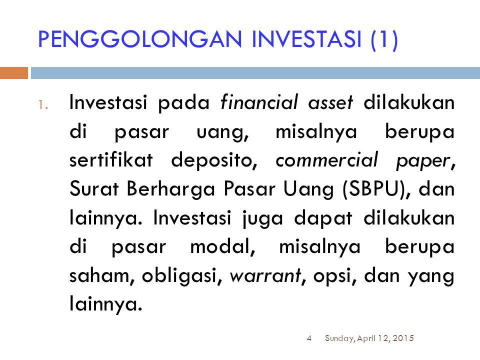 4 PENGGOLONGAN INVESTASI (1) 1. Investasi pada financial asset dilakukan di pasar uang, misalnya berupa sertifikat deposito, commercial paper, Surat B