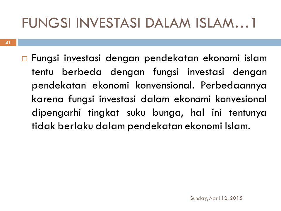 FUNGSI INVESTASI DALAM ISLAM…1  Fungsi investasi dengan pendekatan ekonomi islam tentu berbeda dengan fungsi investasi dengan pendekatan ekonomi konv