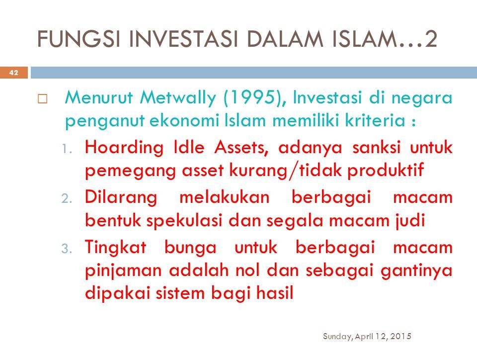 FUNGSI INVESTASI DALAM ISLAM…2  Menurut Metwally (1995), Investasi di negara penganut ekonomi Islam memiliki kriteria : 1. Hoarding Idle Assets, adan