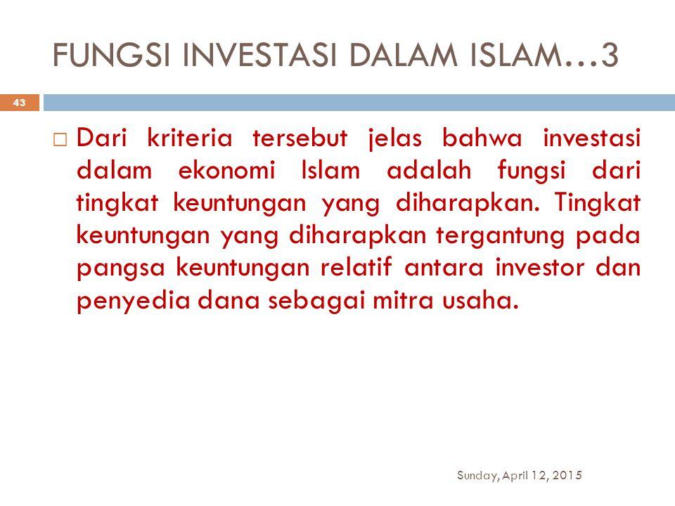 FUNGSI INVESTASI DALAM ISLAM…3  Dari kriteria tersebut jelas bahwa investasi dalam ekonomi Islam adalah fungsi dari tingkat keuntungan yang diharapka