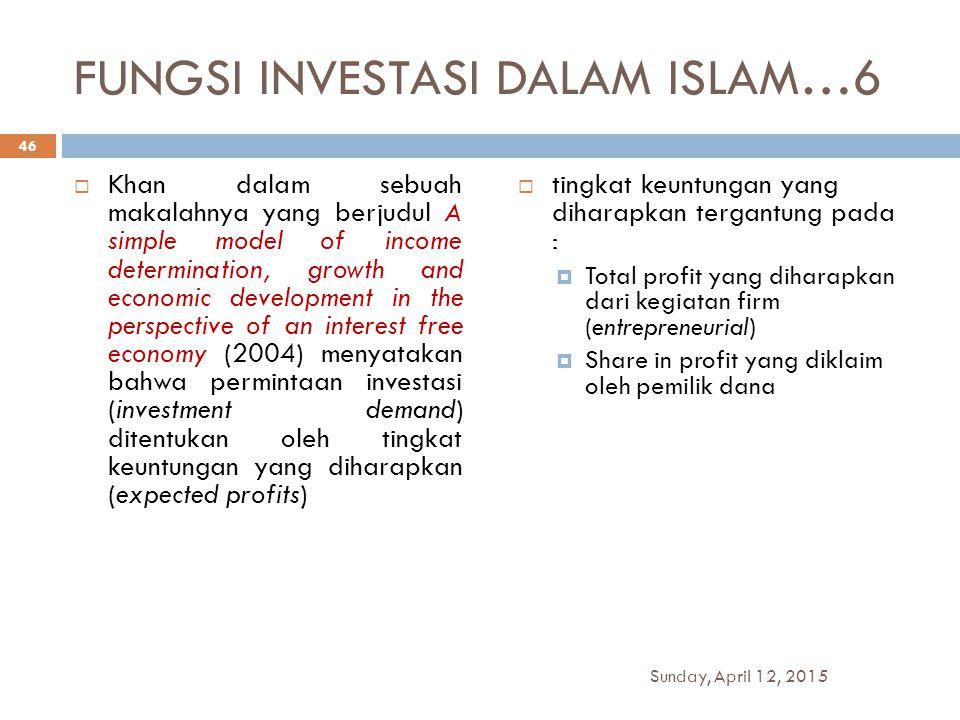 FUNGSI INVESTASI DALAM ISLAM…6  Khan dalam sebuah makalahnya yang berjudul A simple model of income determination, growth and economic development in