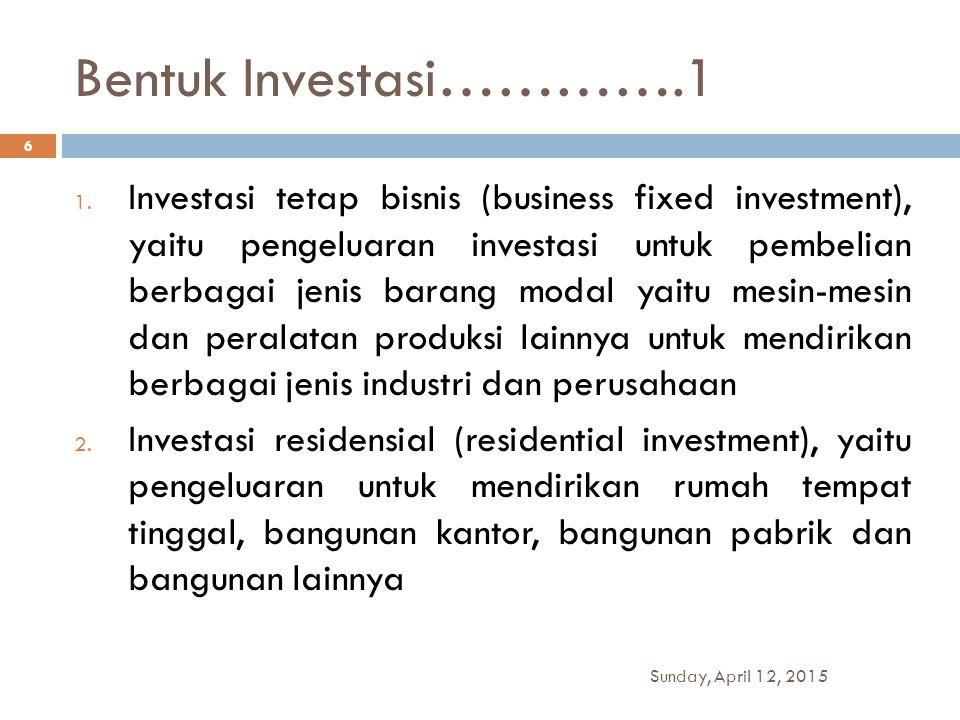 Bentuk Investasi………….1 1. Investasi tetap bisnis (business fixed investment), yaitu pengeluaran investasi untuk pembelian berbagai jenis barang modal