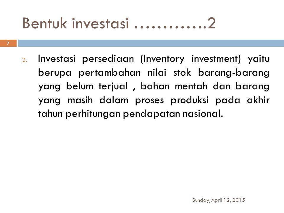 Bentuk investasi ………….2 3. Investasi persediaan (Inventory investment) yaitu berupa pertambahan nilai stok barang-barang yang belum terjual, bahan men