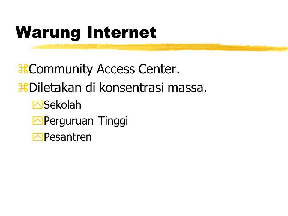Warung Internet zCommunity Access Center. zDiletakan di konsentrasi massa.