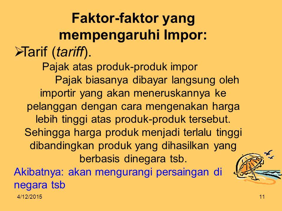 4/12/201511 Faktor-faktor yang mempengaruhi Impor:  Tarif (tariff).