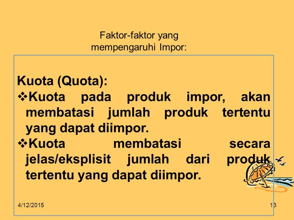 4/12/201513 Faktor-faktor yang mempengaruhi Impor: Kuota (Quota):  Kuota pada produk impor, akan membatasi jumlah produk tertentu yang dapat diimpor.
