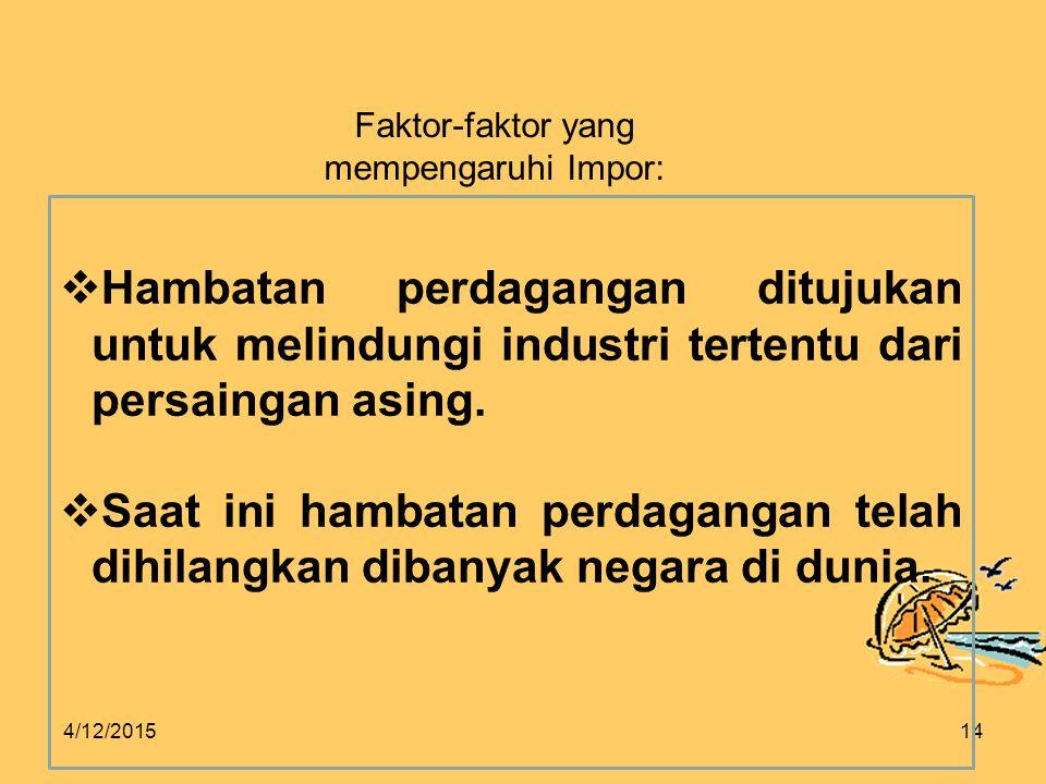 4/12/201514 Faktor-faktor yang mempengaruhi Impor:  Hambatan perdagangan ditujukan untuk melindungi industri tertentu dari persaingan asing.