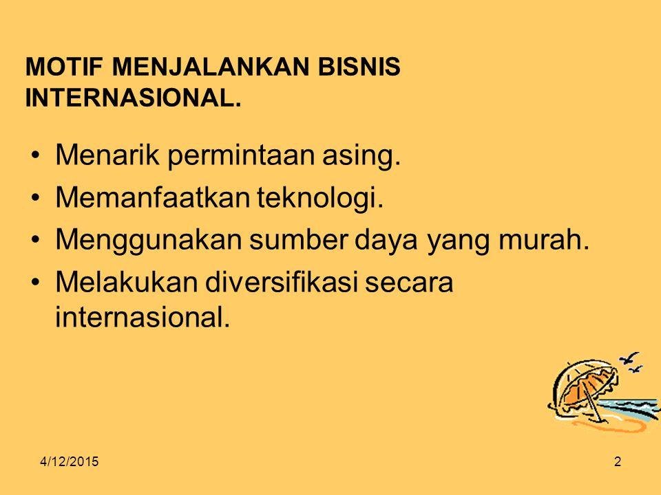 4/12/20152 MOTIF MENJALANKAN BISNIS INTERNASIONAL.