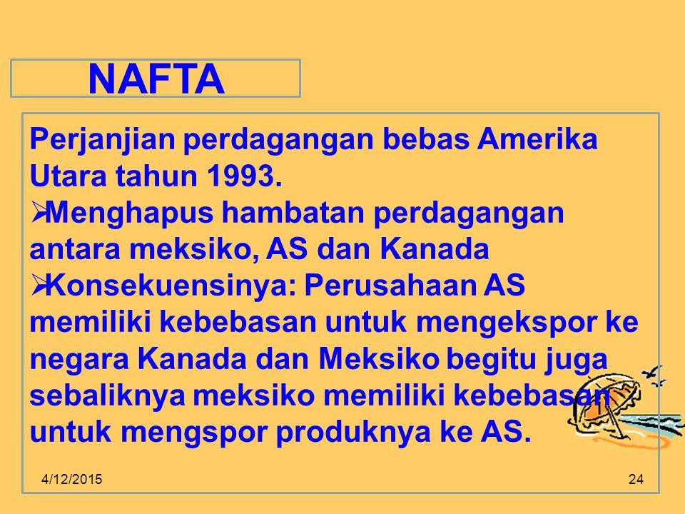 4/12/201524 NAFTA Perjanjian perdagangan bebas Amerika Utara tahun 1993.