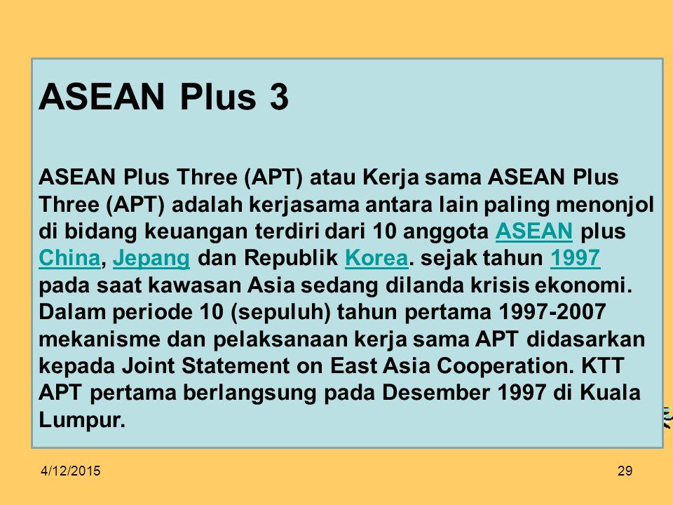 4/12/201529 ASEAN Plus 3 ASEAN Plus Three (APT) atau Kerja sama ASEAN Plus Three (APT) adalah kerjasama antara lain paling menonjol di bidang keuangan terdiri dari 10 anggota ASEAN plus China, Jepang dan Republik Korea.