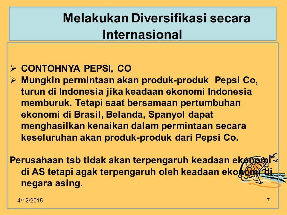 4/12/20157  CONTOHNYA PEPSI, CO  Mungkin permintaan akan produk-produk Pepsi Co, turun di Indonesia jika keadaan ekonomi Indonesia memburuk.