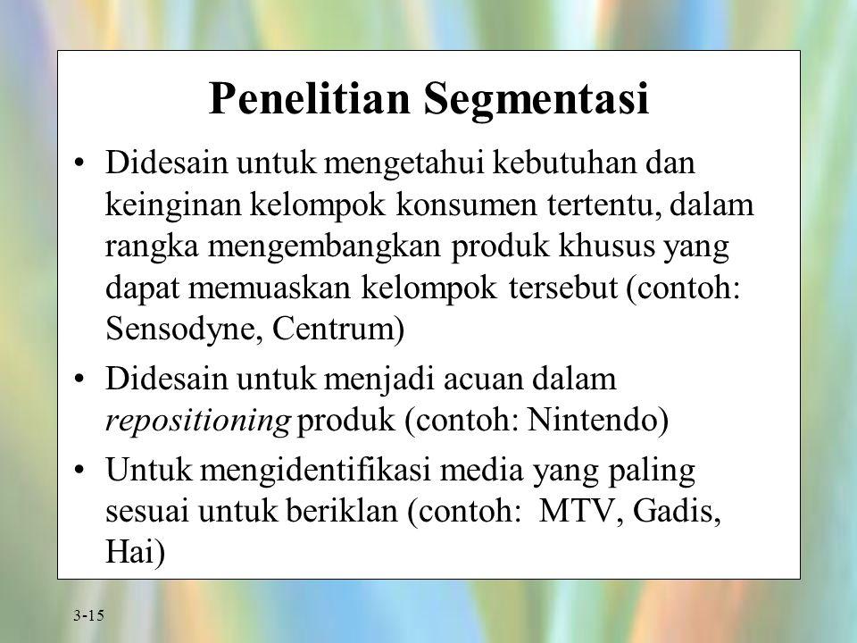 3-15 Penelitian Segmentasi Didesain untuk mengetahui kebutuhan dan keinginan kelompok konsumen tertentu, dalam rangka mengembangkan produk khusus yang