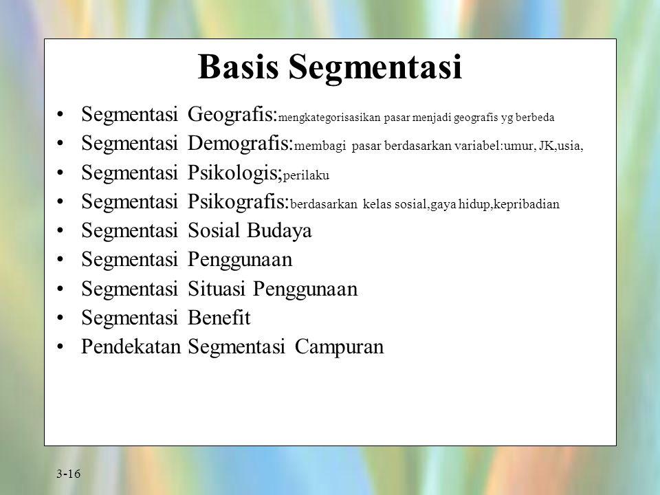 3-16 Basis Segmentasi Segmentasi Geografis: mengkategorisasikan pasar menjadi geografis yg berbeda Segmentasi Demografis: membagi pasar berdasarkan va