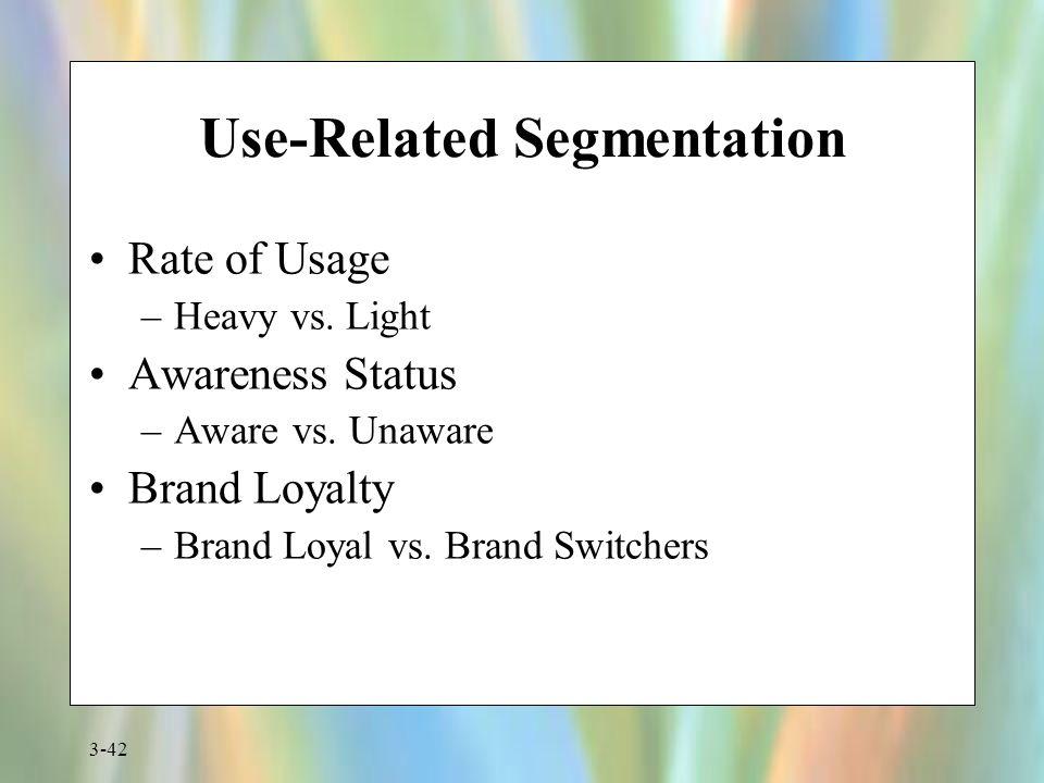 3-42 Use-Related Segmentation Rate of Usage –Heavy vs. Light Awareness Status –Aware vs. Unaware Brand Loyalty –Brand Loyal vs. Brand Switchers