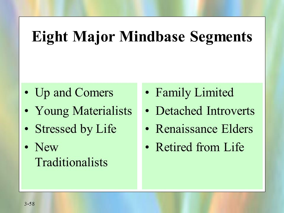 3-58 Eight Major Mindbase Segments Up and Comers Young Materialists Stressed by Life New Traditionalists Family Limited Detached Introverts Renaissanc