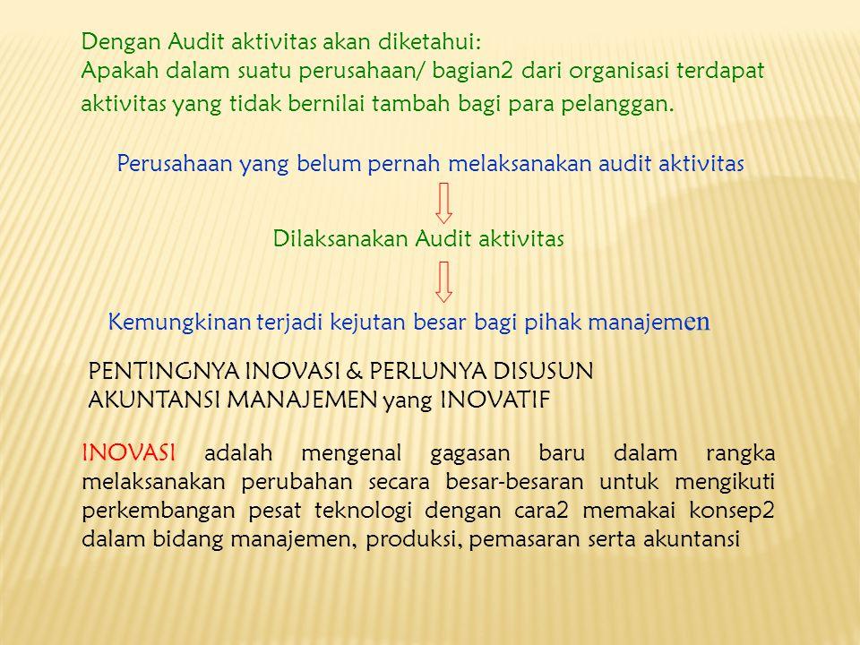 Dengan Audit aktivitas akan diketahui: Apakah dalam suatu perusahaan/ bagian2 dari organisasi terdapat aktivitas yang tidak bernilai tambah bagi para