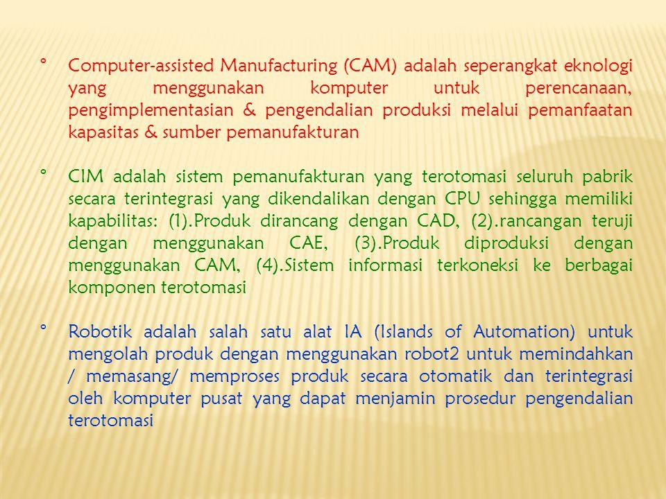 °Computer-assisted Manufacturing (CAM) adalah seperangkat eknologi yang menggunakan komputer untuk perencanaan, pengimplementasian & pengendalian prod