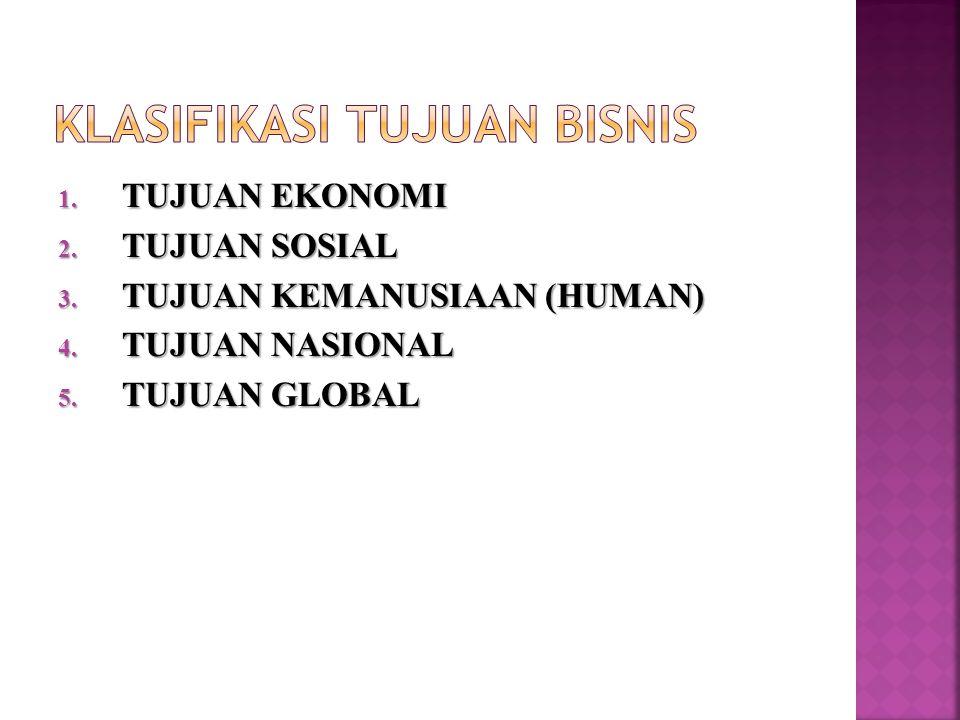 1.TUJUAN EKONOMI 2. TUJUAN SOSIAL 3. TUJUAN KEMANUSIAAN (HUMAN) 4.