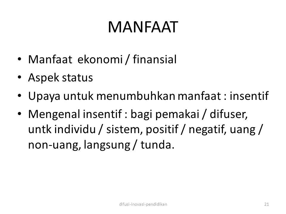 MANFAAT Manfaat ekonomi / finansial Aspek status Upaya untuk menumbuhkan manfaat : insentif Mengenal insentif : bagi pemakai / difuser, untk individu / sistem, positif / negatif, uang / non-uang, langsung / tunda.