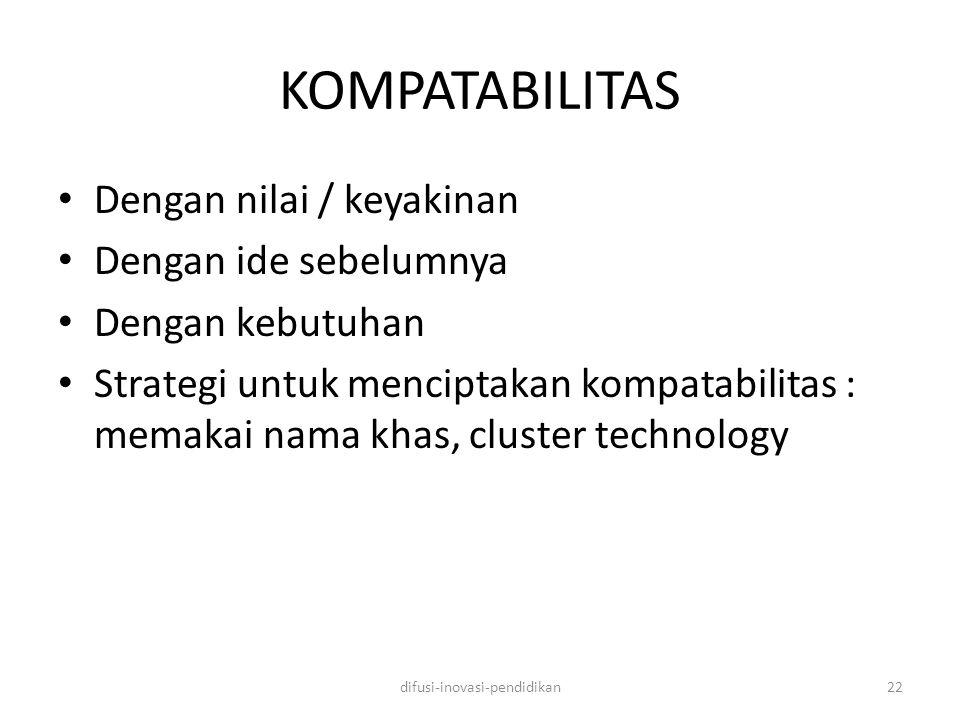 KOMPATABILITAS Dengan nilai / keyakinan Dengan ide sebelumnya Dengan kebutuhan Strategi untuk menciptakan kompatabilitas : memakai nama khas, cluster technology difusi-inovasi-pendidikan22