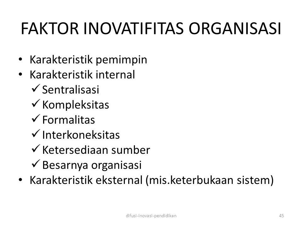 FAKTOR INOVATIFITAS ORGANISASI Karakteristik pemimpin Karakteristik internal Sentralisasi Kompleksitas Formalitas Interkoneksitas Ketersediaan sumber Besarnya organisasi Karakteristik eksternal (mis.keterbukaan sistem) difusi-inovasi-pendidikan45