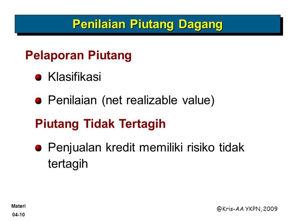 Materi 04-10 @Kris-AA YKPN, 2009 Penilaian Piutang Dagang Pelaporan Piutang Klasifikasi Penilaian (net realizable value) Piutang Tidak Tertagih Penjua