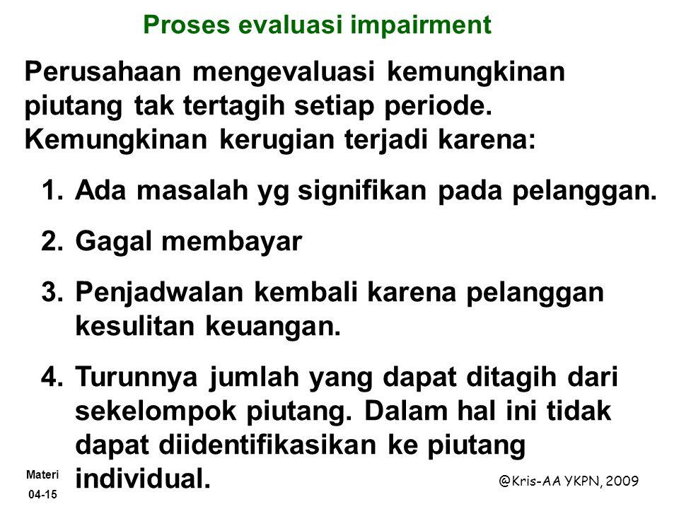 Materi 04-15 @Kris-AA YKPN, 2009 Proses evaluasi impairment Perusahaan mengevaluasi kemungkinan piutang tak tertagih setiap periode. Kemungkinan kerug
