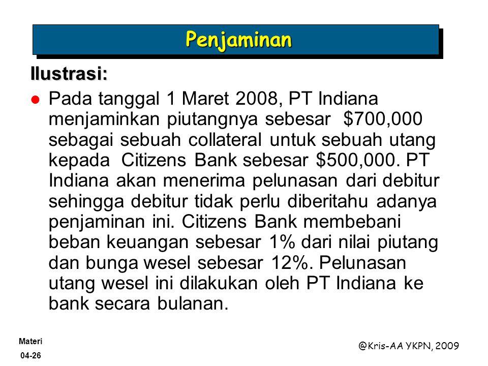 Materi 04-26 @Kris-AA YKPN, 2009 PenjaminanPenjaminan Ilustrasi: Pada tanggal 1 Maret 2008, PT Indiana menjaminkan piutangnya sebesar $700,000 sebagai