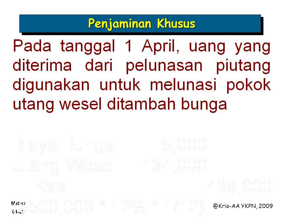Materi 04-28 @Kris-AA YKPN, 2009 Penjaminan Khusus