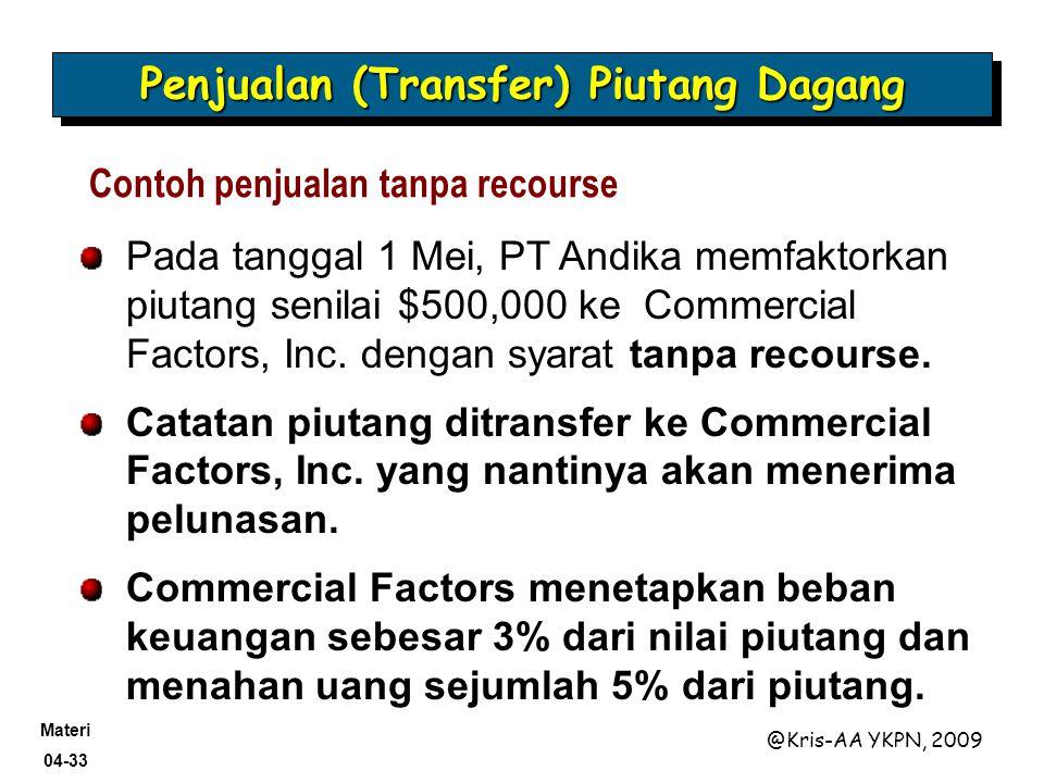 Materi 04-33 @Kris-AA YKPN, 2009 Contoh penjualan tanpa recourse Pada tanggal 1 Mei, PT Andika memfaktorkan piutang senilai $500,000 ke Commercial Fac