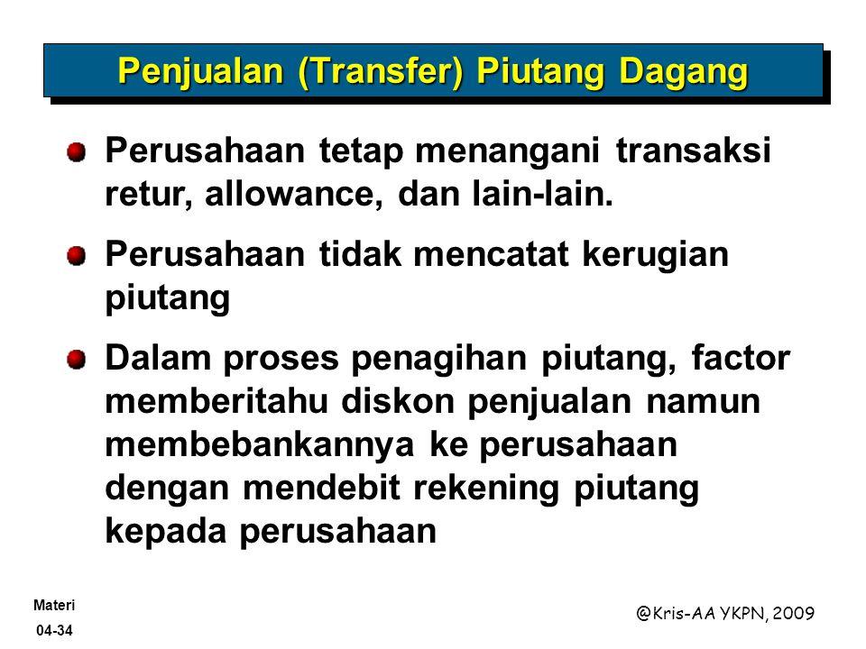 Materi 04-34 @Kris-AA YKPN, 2009 Perusahaan tetap menangani transaksi retur, allowance, dan lain-lain. Perusahaan tidak mencatat kerugian piutang Dala
