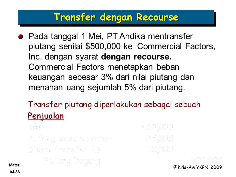 Materi 04-36 @Kris-AA YKPN, 2009 Transfer dengan Recourse Pada tanggal 1 Mei, PT Andika mentransfer piutang senilai $500,000 ke Commercial Factors, In