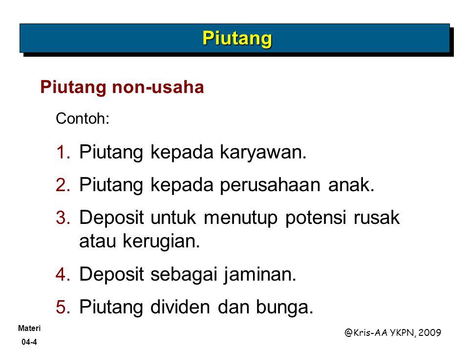 Materi 04-4 @Kris-AA YKPN, 2009 Contoh: Piutang non-usaha 1. Piutang kepada karyawan. 2. Piutang kepada perusahaan anak. 3. Deposit untuk menutup pote