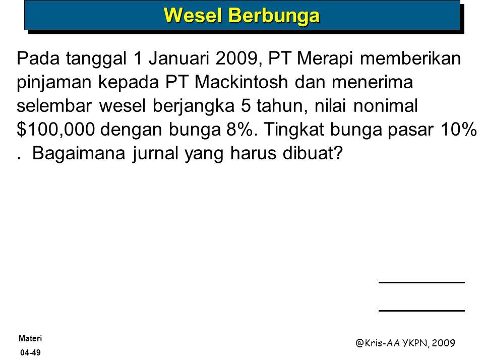 Materi 04-49 @Kris-AA YKPN, 2009 Pada tanggal 1 Januari 2009, PT Merapi memberikan pinjaman kepada PT Mackintosh dan menerima selembar wesel berjangka
