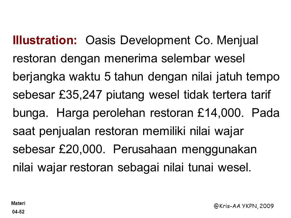 Materi 04-52 @Kris-AA YKPN, 2009 Illustration: Oasis Development Co. Menjual restoran dengan menerima selembar wesel berjangka waktu 5 tahun dengan ni