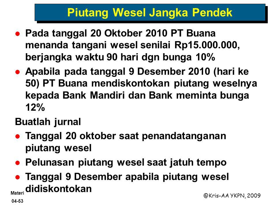 Materi 04-53 @Kris-AA YKPN, 2009 Piutang Wesel Jangka Pendek Pada tanggal 20 Oktober 2010 PT Buana menanda tangani wesel senilai Rp15.000.000, berjang