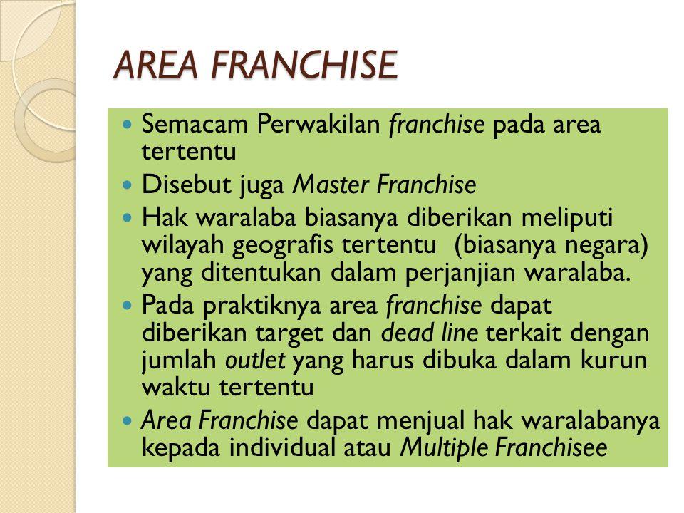 AREA FRANCHISE Semacam Perwakilan franchise pada area tertentu Disebut juga Master Franchise Hak waralaba biasanya diberikan meliputi wilayah geografis tertentu (biasanya negara) yang ditentukan dalam perjanjian waralaba.