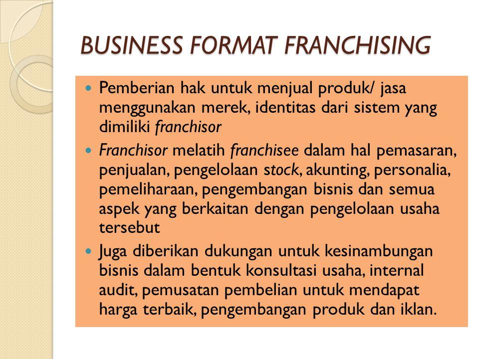BUSINESS FORMAT FRANCHISING Pemberian hak untuk menjual produk/ jasa menggunakan merek, identitas dari sistem yang dimiliki franchisor Franchisor melatih franchisee dalam hal pemasaran, penjualan, pengelolaan stock, akunting, personalia, pemeliharaan, pengembangan bisnis dan semua aspek yang berkaitan dengan pengelolaan usaha tersebut Juga diberikan dukungan untuk kesinambungan bisnis dalam bentuk konsultasi usaha, internal audit, pemusatan pembelian untuk mendapat harga terbaik, pengembangan produk dan iklan.