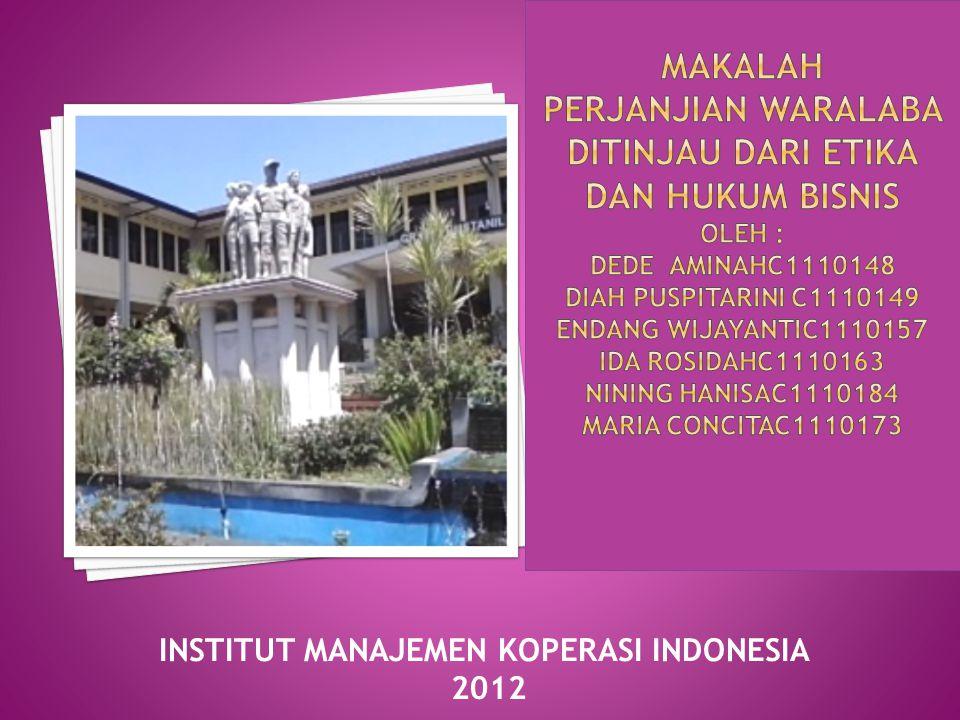 INSTITUT MANAJEMEN KOPERASI INDONESIA 2012