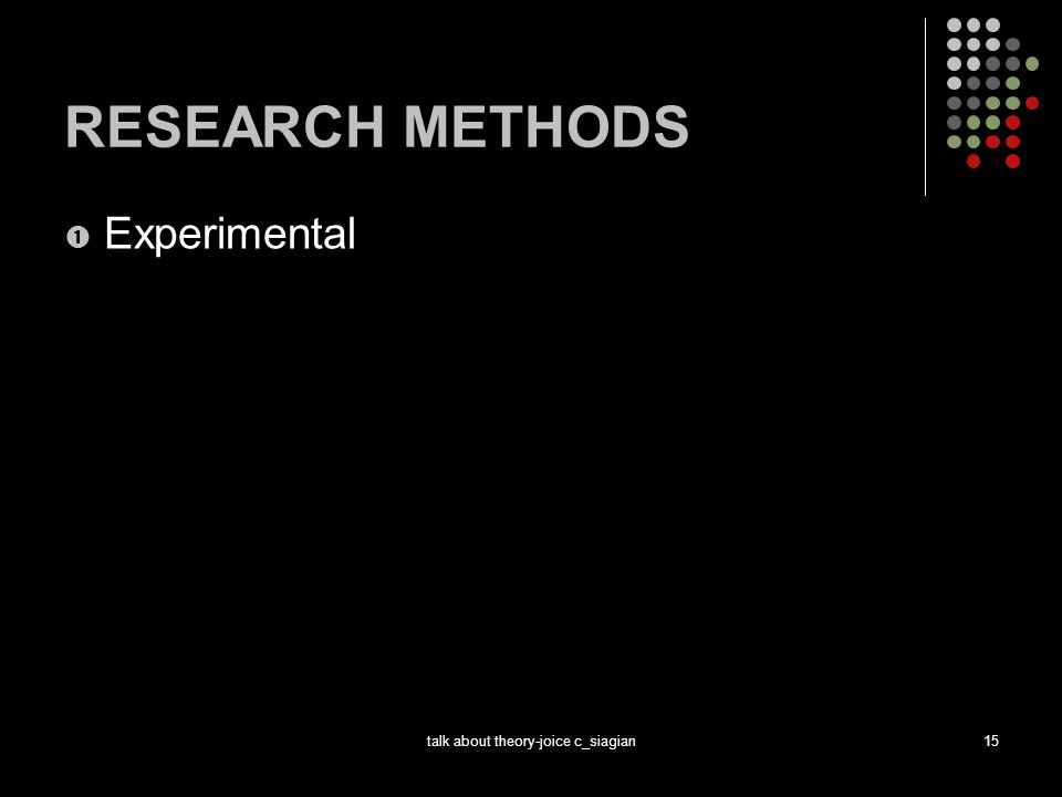 talk about theory-joice c_siagian15 RESEARCH METHODS  Experimental