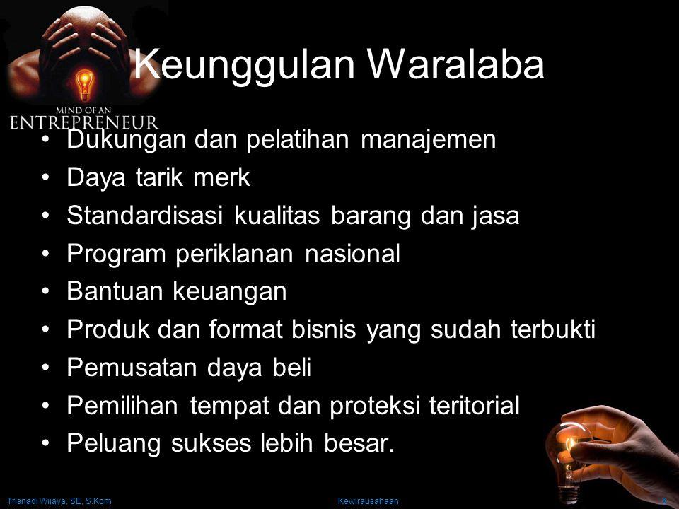 Trisnadi Wijaya, SE, S.Kom Kewirausahaan8 Keunggulan Waralaba Dukungan dan pelatihan manajemen Daya tarik merk Standardisasi kualitas barang dan jasa