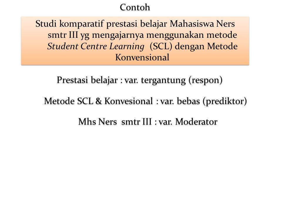 Studi komparatif prestasi belajar Mahasiswa Ners smtr III yg mengajarnya menggunakan metode Student Centre Learning (SCL) dengan Metode Konvensional P