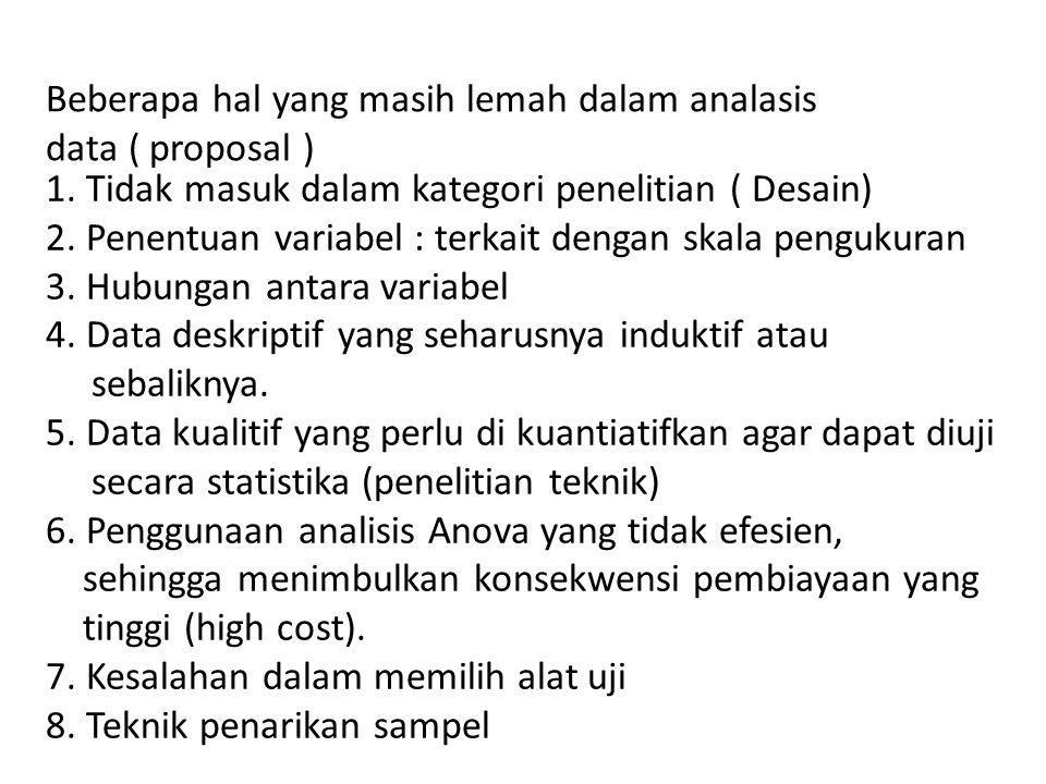 Beberapa hal yang masih lemah dalam analasis data ( proposal ) 1. Tidak masuk dalam kategori penelitian ( Desain) 2. Penentuan variabel : terkait deng