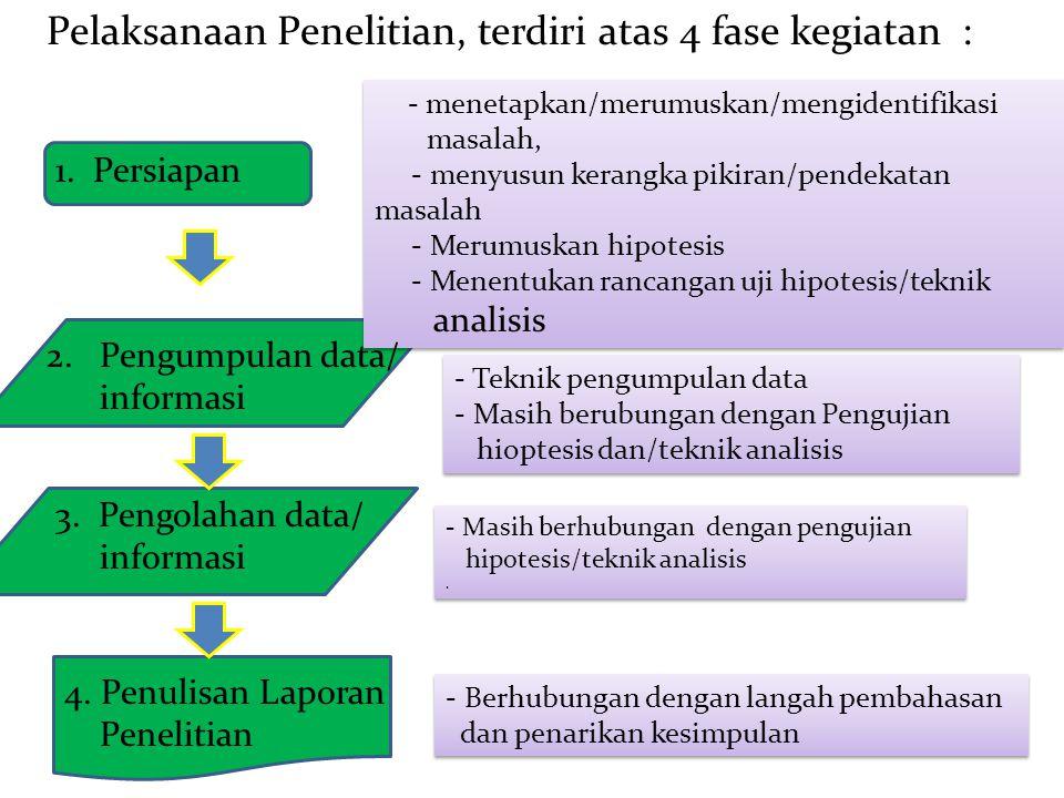 1. Persiapan Pelaksanaan Penelitian, terdiri atas 4 fase kegiatan : 3. Pengolahan data/ informasi - menetapkan/merumuskan/mengidentifikasi masalah, -