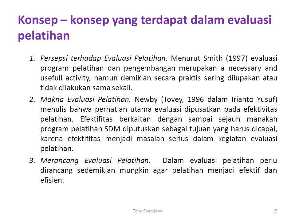 Konsep – konsep yang terdapat dalam evaluasi pelatihan 1.Persepsi terhadap Evaluasi Pelatihan. Menurut Smith (1997) evaluasi program pelatihan dan pen