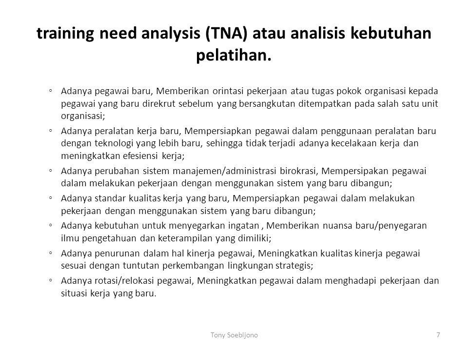training need analysis (TNA) atau analisis kebutuhan pelatihan. ◦ Adanya pegawai baru, Memberikan orintasi pekerjaan atau tugas pokok organisasi kepad