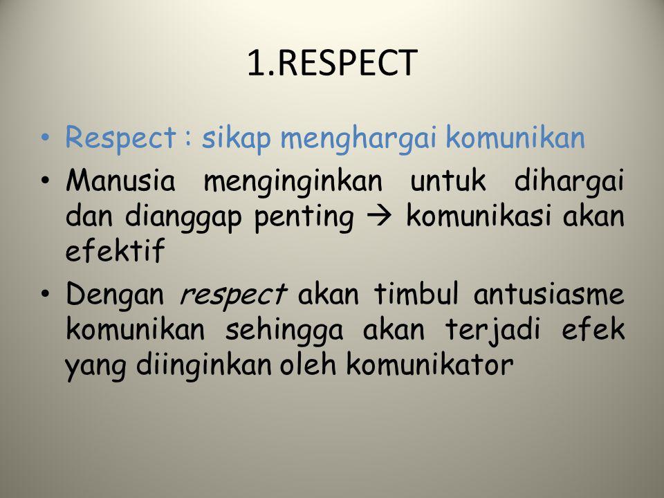 1.RESPECT Respect : sikap menghargai komunikan Manusia menginginkan untuk dihargai dan dianggap penting  komunikasi akan efektif Dengan respect akan